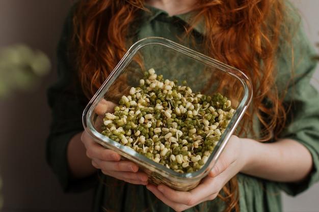 ビーガン料理。子供の手で発芽したアジアの豆。 Premium写真