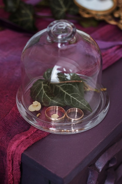 ガラス箱の結婚指輪 Premium写真
