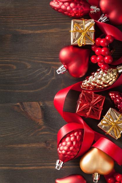クリスマスギフトボックスと装飾背景フレーム Premium写真