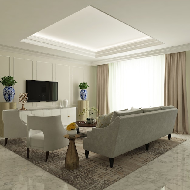 Монохромная современная классическая гостиная с диваном, креслом и креденкой Premium Фотографии