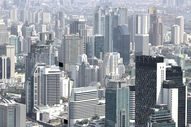 Красивые современные здания городского пейзажа бангкока Premium Фотографии