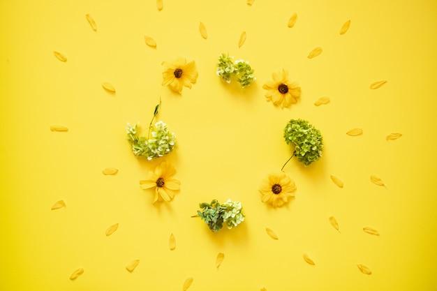 Свежие цветы разбросаны на желтом фоне.- скопируйте пространство в центре Premium Фотографии