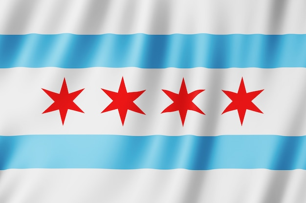 米国イリノイ州シカゴ市の旗 Premium写真