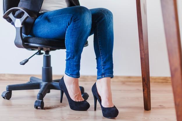 женские ступни в офисе расположению