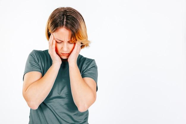 片頭痛を持つ女性 無料写真