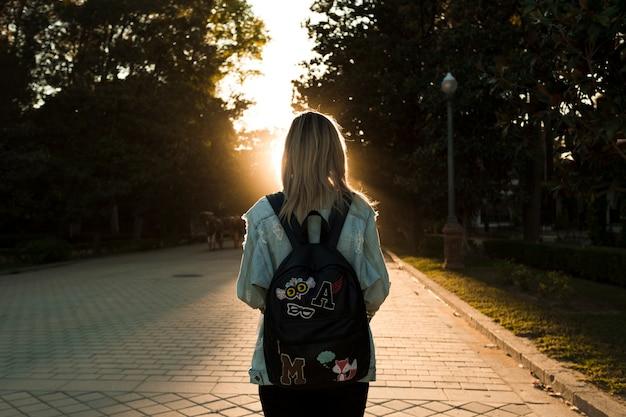 夕日を見ているバックビューの女性 無料写真