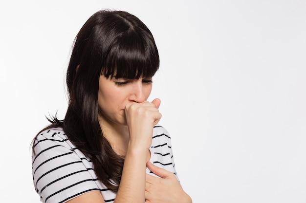 美しい女性の咳 無料写真