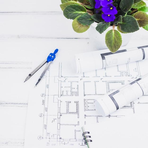 プランを備えた建築コンセプト 無料写真