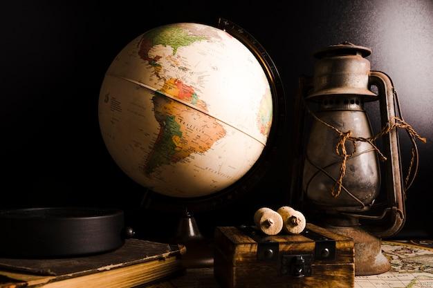 古い、古い、地球儀、ランタン 無料写真