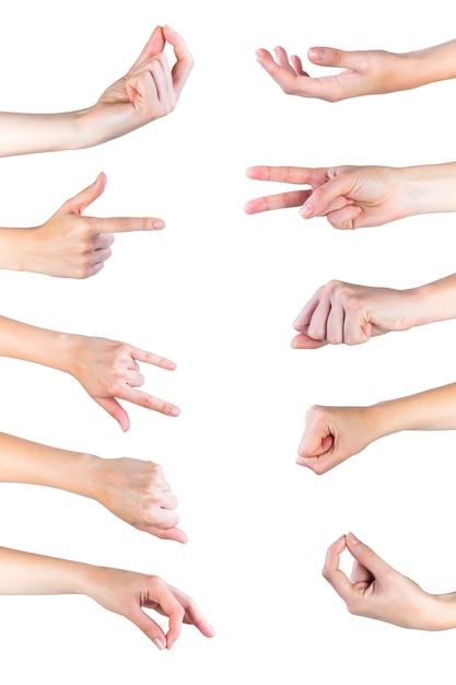 人間の手のジェスチャーコレクションのクローズアップ 無料写真