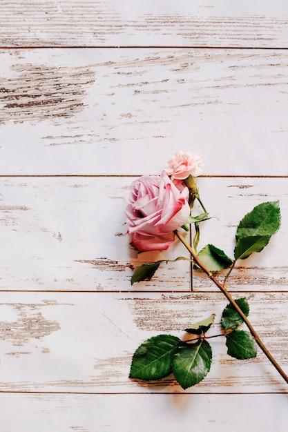 新鮮な繊細なピンクのクローズアップは、木製の背景に 無料写真
