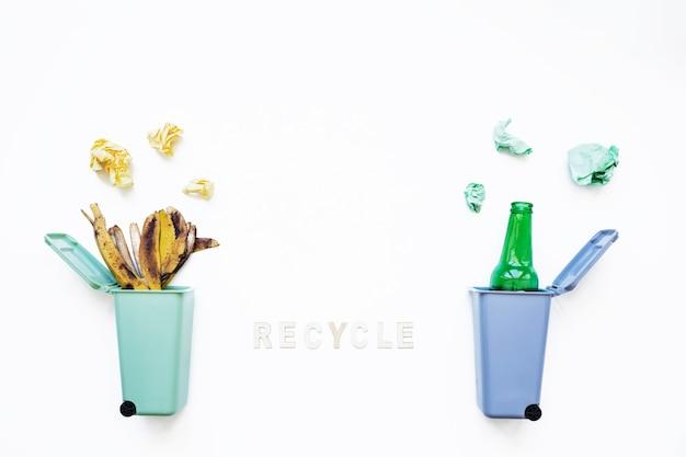 コンセプトとごみ箱のリサイクル 無料写真