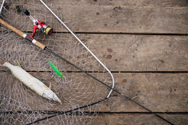 釣りネットの中に釣り竿で魚を釣り上げる 無料写真