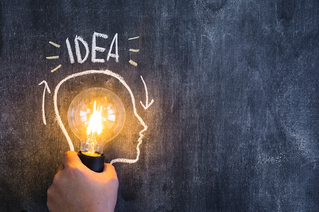 アイデアのテキストと黒板に描画されたアウトラインの顔を照らされた電球を持つ手 無料写真