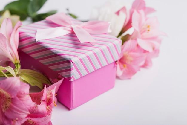 白い背景にギフトボックスとピンクの水の花 無料写真