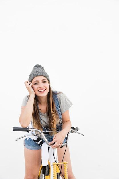 若い、女、見る、黄色、自転車、カメラ、見る 無料写真