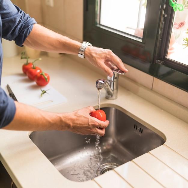 シード、赤、トマト、人間の掃除のクローズアップ 無料写真