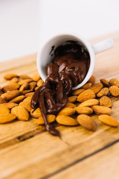 Расплавленный шоколад, налитый из чашки на миндале Бесплатные Фотографии