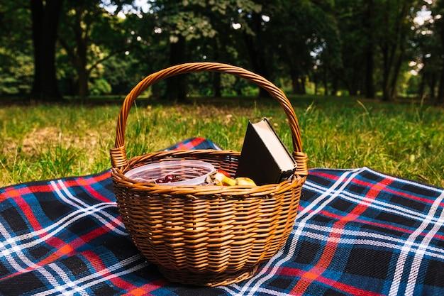 公園の緑の草の上に毛布のピクニックバスケット 無料写真