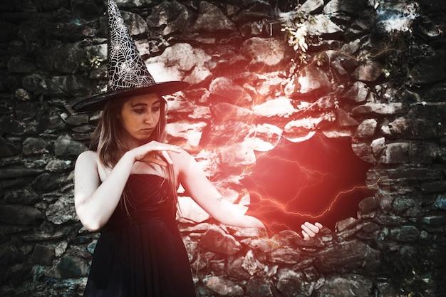 若い、女、魔女、魔法、光景 無料写真