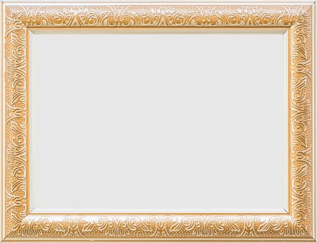 Крупный план золотой пустой белый кадр Бесплатные Фотографии