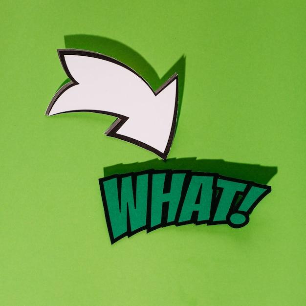 緑の背景にどのようなポップアートベクトルの矢印が付いている 無料写真