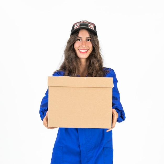 若い、配達人、箱を持つ 無料写真