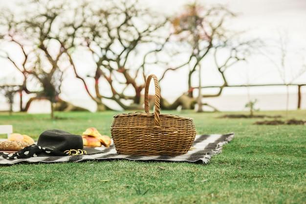帽子と緑の草の上の毛布に焼いたパンと籐ピクニックのバスケット 無料写真