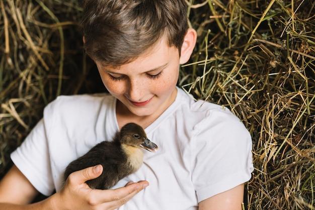 干し草の前でアヒルを見る笑顔の少年 無料写真