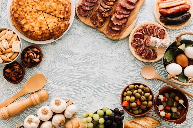 パターンの卓上の食べ物からの境界 無料写真