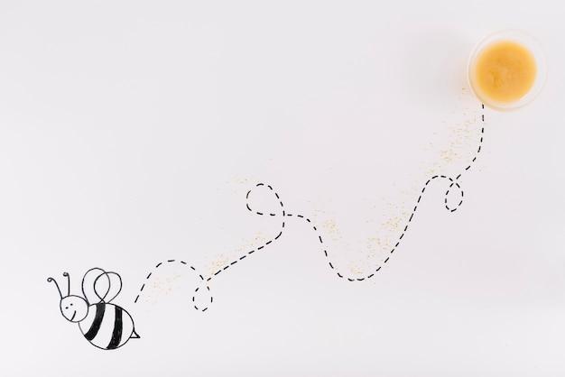 飛行蜂のトラックは、蜂蜜のボウルと接続 無料写真