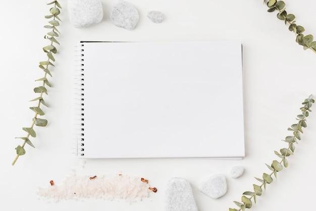 小枝;白い背景に空のスパイラルメモ帳の周りの塩とスパの石 無料写真