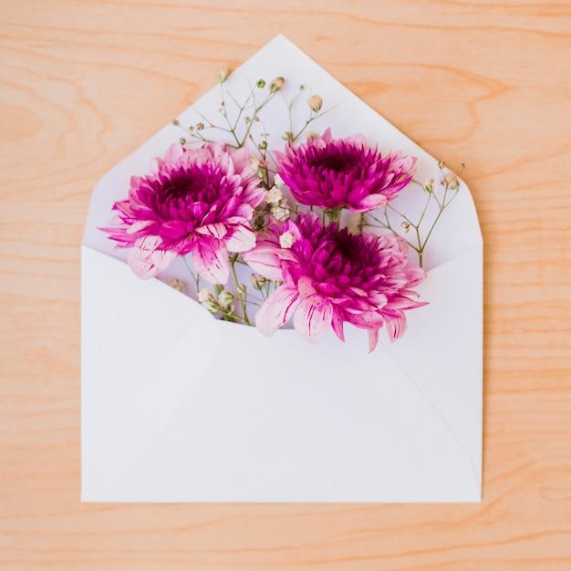 木製の背景に白い封筒の中に美しいピンクの花 無料写真