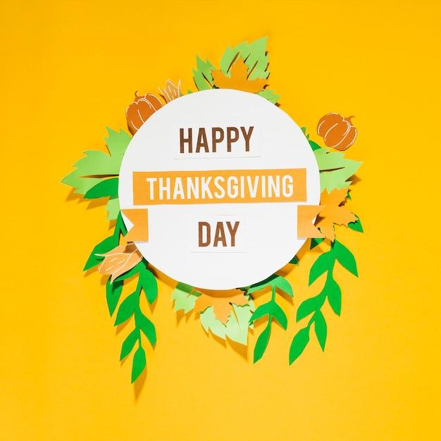 幸せ感謝の日、黄色の背景に文字 無料写真