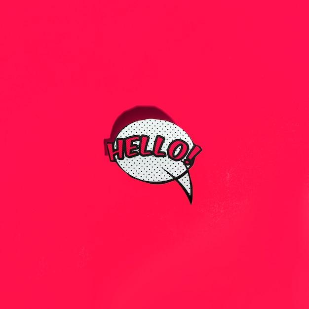 Вектор значок речи пузырь с привет приветствие на красном фоне Бесплатные Фотографии