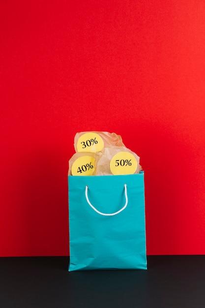 販売シール付きのショッピングパッケージ 無料写真