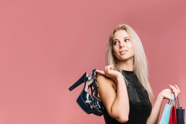 女性、買い物袋、靴 無料写真