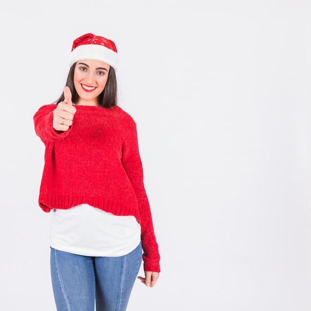 若い、女、クリスマス、帽子、親指 無料写真