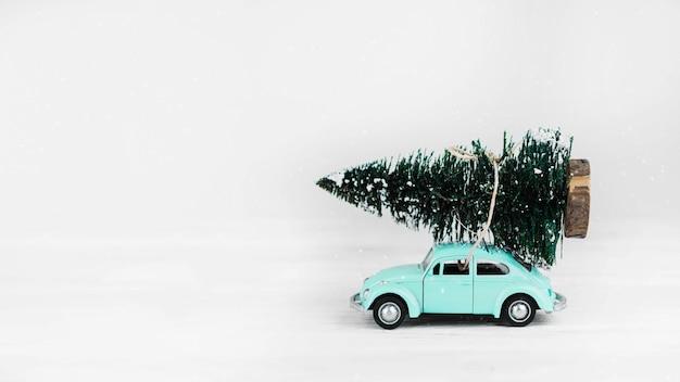 上にモミの木の車のおもちゃ 無料写真