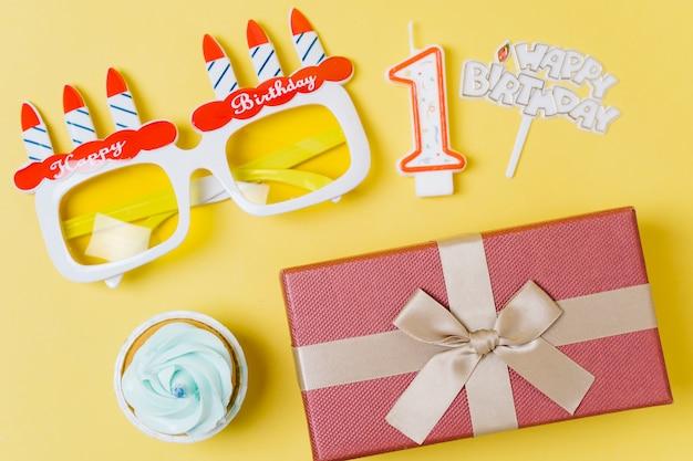 トップビューの誕生日の要素 無料写真