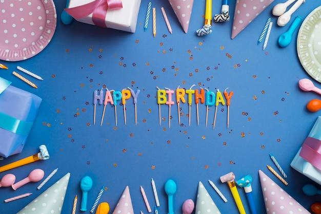 誕生日の要素で囲まれた言葉 無料写真
