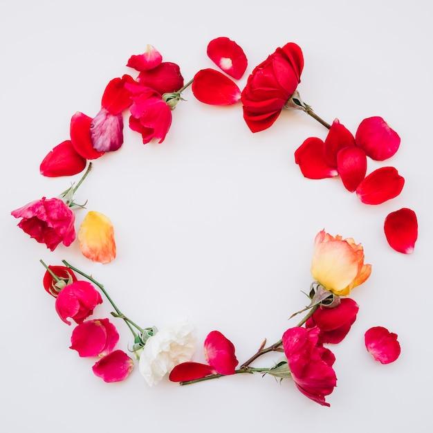 花から作られたラウンドフレーム 無料写真
