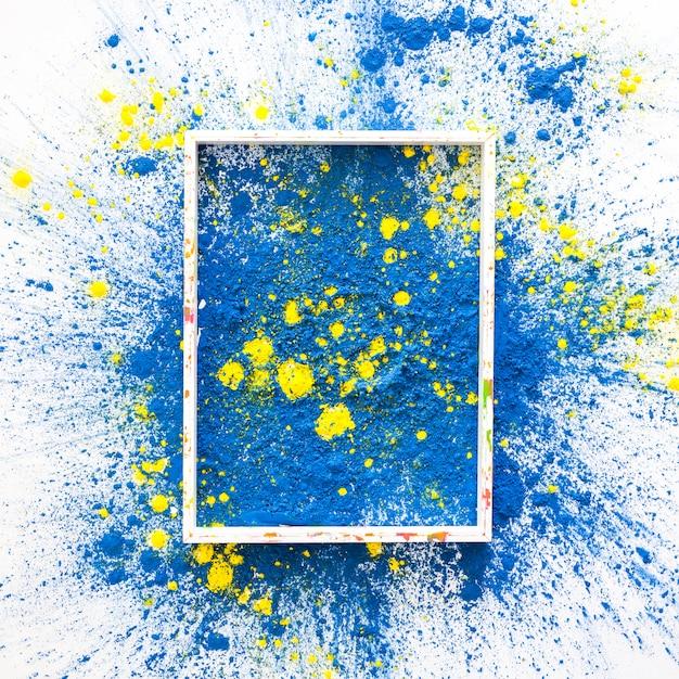 青と黄色の明るいドライカラーのフォトフレーム 無料写真