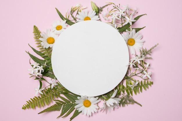 素敵な花や植物の組成のプレート 無料写真