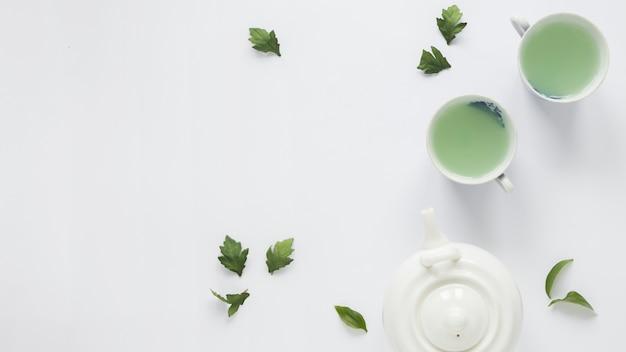 Свежий зеленый чай с чайными листьями и чайником на белом фоне Бесплатные Фотографии