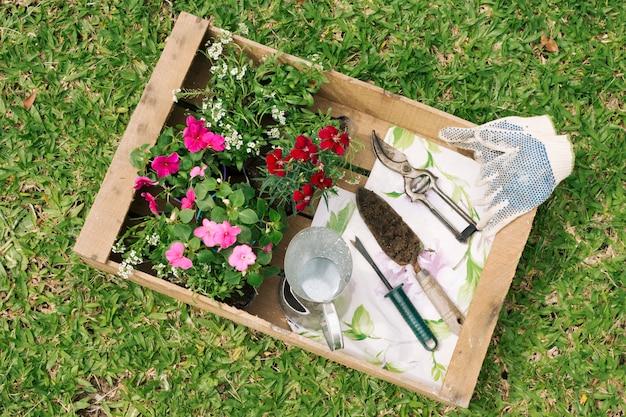 木製コンテナー内の花と庭の機器の近くの金属投手 無料写真