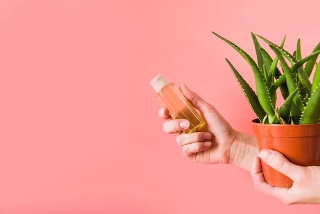 Крупный план руки человека, держащего бутылку спрей алоэвера и растение в горшке на цветном фоне Бесплатные Фотографии
