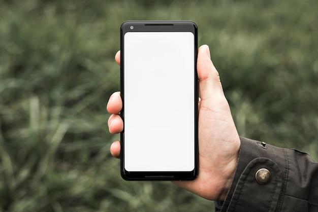 白い空白の画面を持つ携帯電話を示す人の手 無料写真
