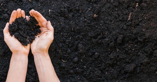 土を持っている人の手の上から見る 無料写真