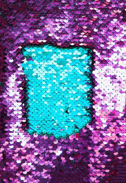 青と紫のスパンコール生地のクローズアップ 無料写真
